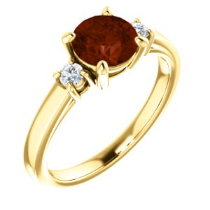 Jewels By Lux 14K Yellow Gold 6.5mm Round Mozambique Garnet & 1/6 CTW Diamond Ring