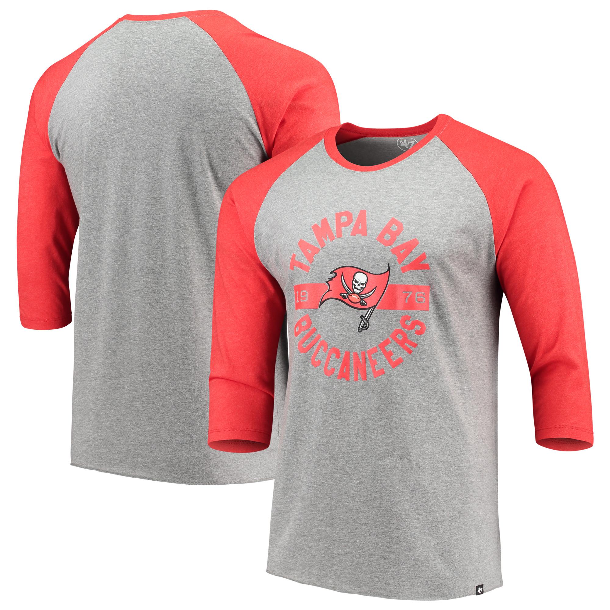 Tampa Bay Buccaneers '47 Roundabout Club Raglan 3/4-Sleeve T-Shirt - Gray/Red
