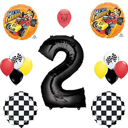 Mickey Mouse Roadster Racer Party Supplies 2nd Birthday Party Balloon Set - Mickey Mouse 2nd Birthday