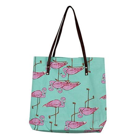 Flamingo Durable Canvas Tote Green Bag](Flamingo Tote Bag)