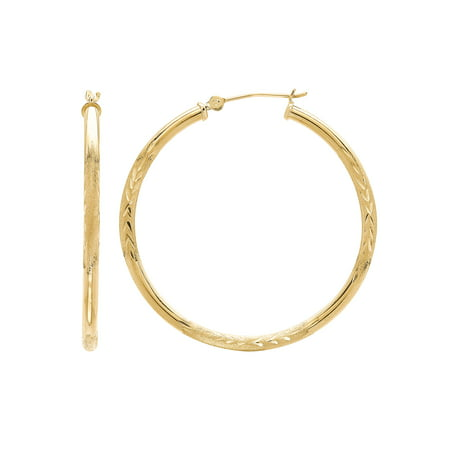 Brilliance Fine Jewelry 10K Yellow Gold Satin and Diamond-Cut Hoop Earrings