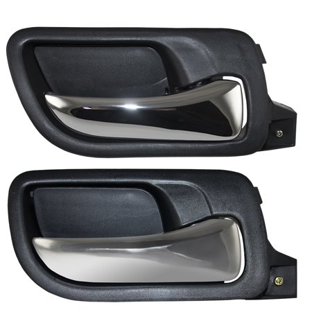Passengers Set of Front & Rear Inside Door Handle Chrome Lever w/ Black Housing Replacement for Honda Accord 72120SDAA02ZC 72620SDAA02ZA