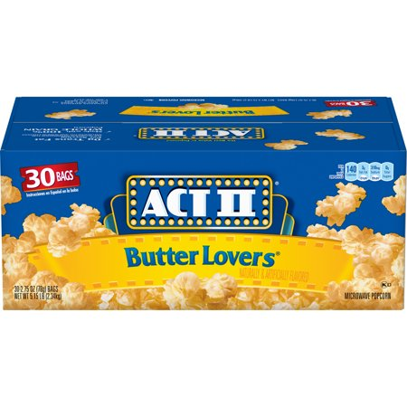 ACT II Butter Lovers Microwave Popcorn, 30-Count 2.75-oz. Bags