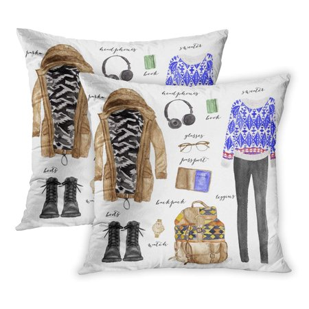 BOSDECO Watercolor Paris Hand Drawn and Outfit Sketch Lookbook Outwear Shoes Headphones PillowCase Pillow Cover 18x18 inch Set of 2 - image 1 de 1