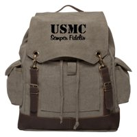USMC SEMPER FIDELIS Vintage Canvas Rucksack Backpack with Leather Straps