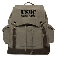 USMC SEMPER FIDELIS Vintage Canvas Rucksack Backpack with Leather Straps