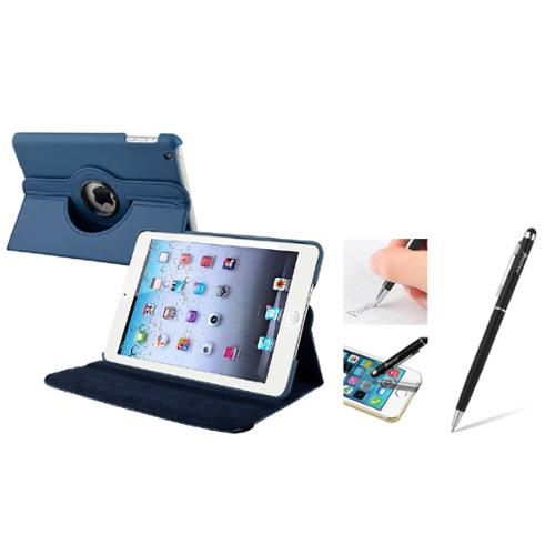 iPad Mini 3/2/1 Case, iPad Mini Case by Insten Navy Blue Leather Case w/ Sleep Mode + Black Stylus For iPad Mini 3 2 1