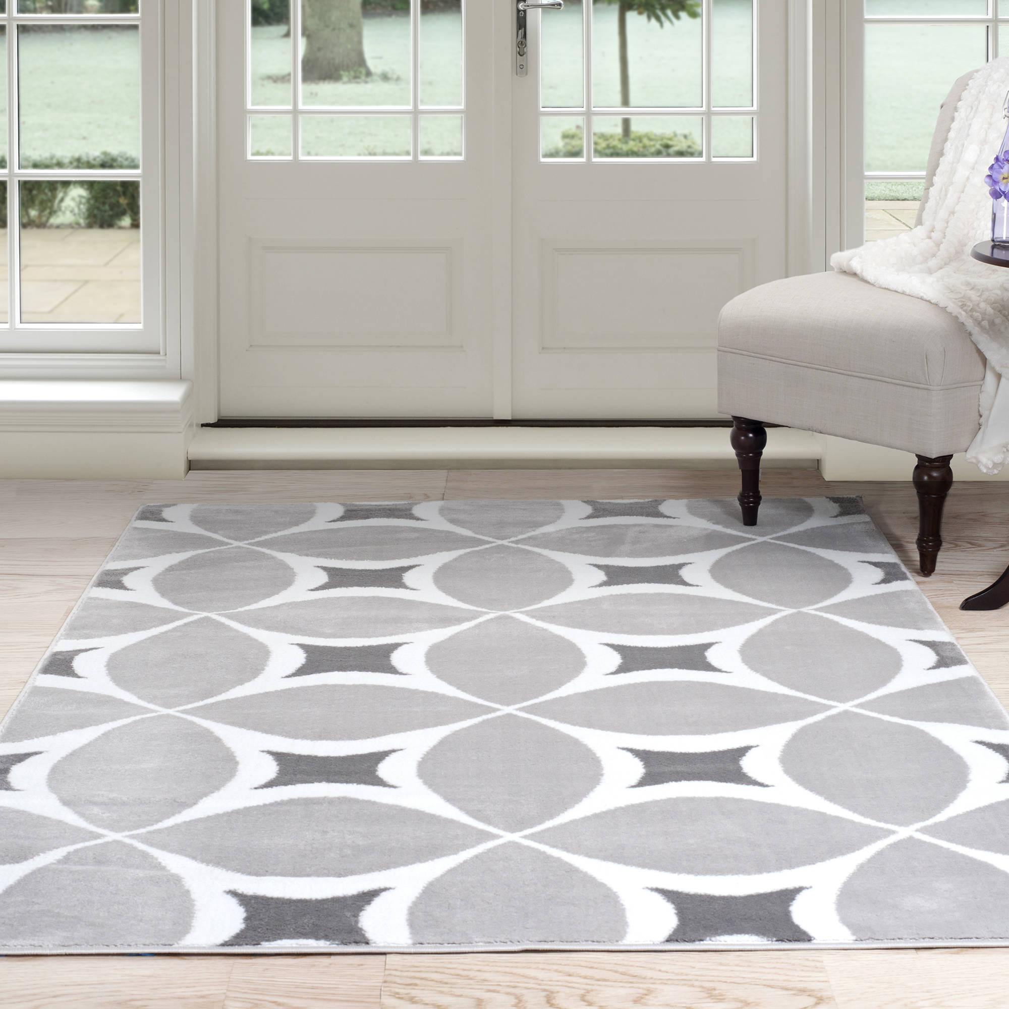 Somerset Home Geometric Area Rug, Grey And White   Walmart.com