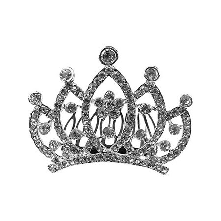 Kings Hair Store (Art Attack Silvertone Fit For A Queen King Pave Heart Bridal Wedding Party Bridesmaid Sweet Sixteen Hair Clip)
