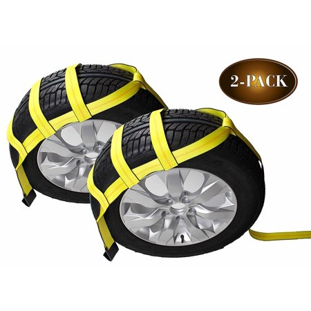 Classic Yellow Adjustable Loop Car Tie Down Kit With Snap Hooks,2 Pcs Car Basket Straps Trailer Tire Belt Tow Wheel 5 Tons