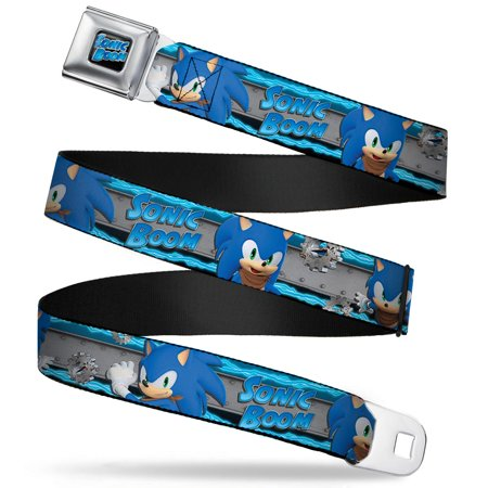 Sonic Boom Logo Full Color Black Gray Blues Sonic Boom 3 Sonic Poses Seatbelt Belt - Sonic Is A Girl