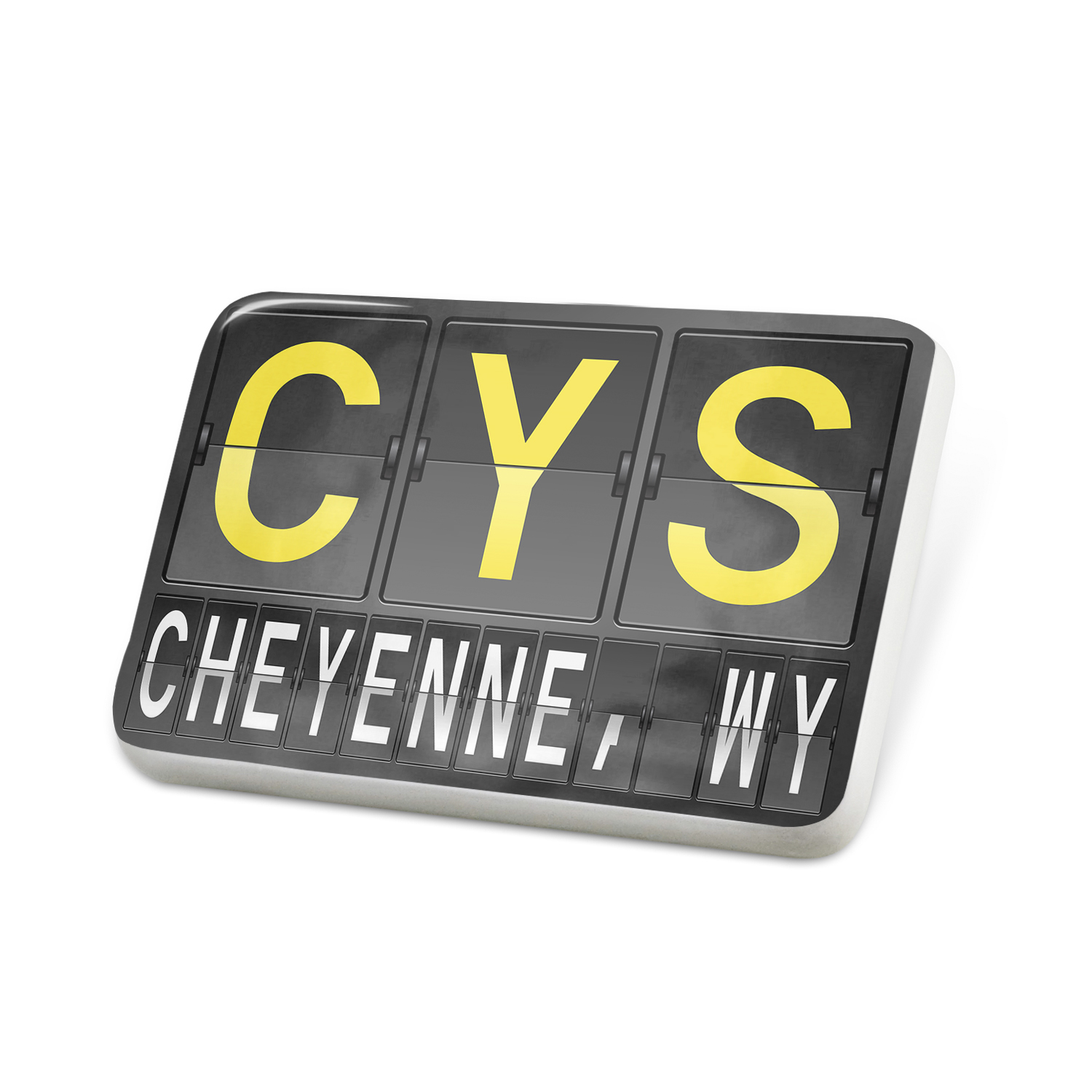 Porcelein Pin CYS Airport Code for Cheyenne, WY Lapel Badge – NEONBLOND