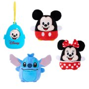 Disney Classics Cutie Beans 2.5-Inch Surprise Plush and Clip-On Carrier, 3 Pack, Mickey, Minnie, Stitch, Plush Basic Blind, Ages 2 Up, by Just Play