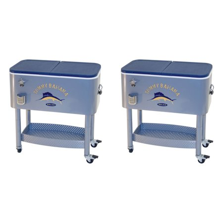 Tommy Bahama The Entertainer 77 Qt Rolling Portable Patio Party Cooler (2 Pack) ()