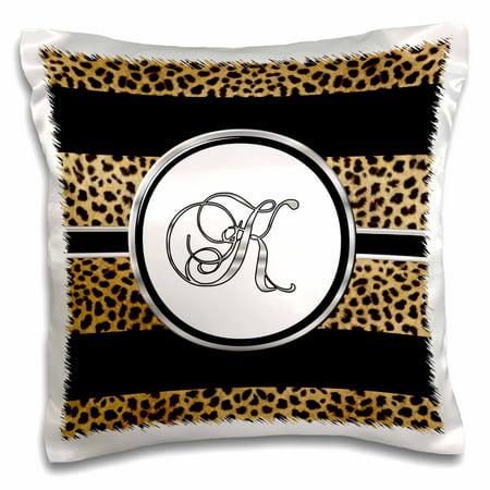 3dRose Elegant Cheetah Animal Print Monogram Letter K - Pillow Case, 16 by 16-inch