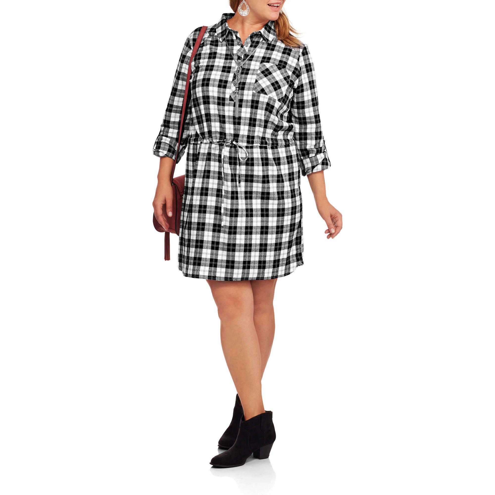 Concepts Women's Plus Belted Plaid Shirt Dress