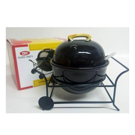 Boston Warehouse Mini Ceramic Barbecue Grill Shaped 12oz Condiment Bowl & Spoon