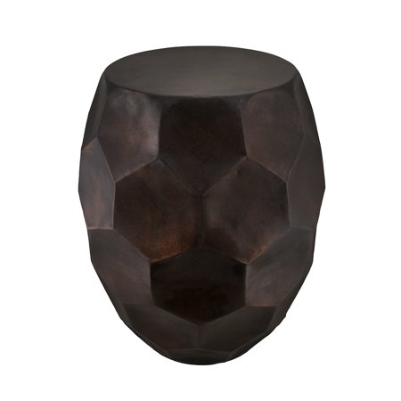 Retro Antique Copper Finish Faceted Metal Accent Stool 20 Inch