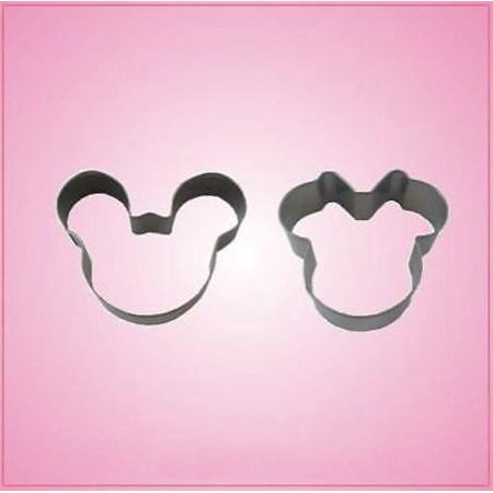 Small Silver Mickey Mouse Cookie Cutter Mickey and Minnie Set (2 cookie cutters) - Mickey Mouse Cookie Cutter Set