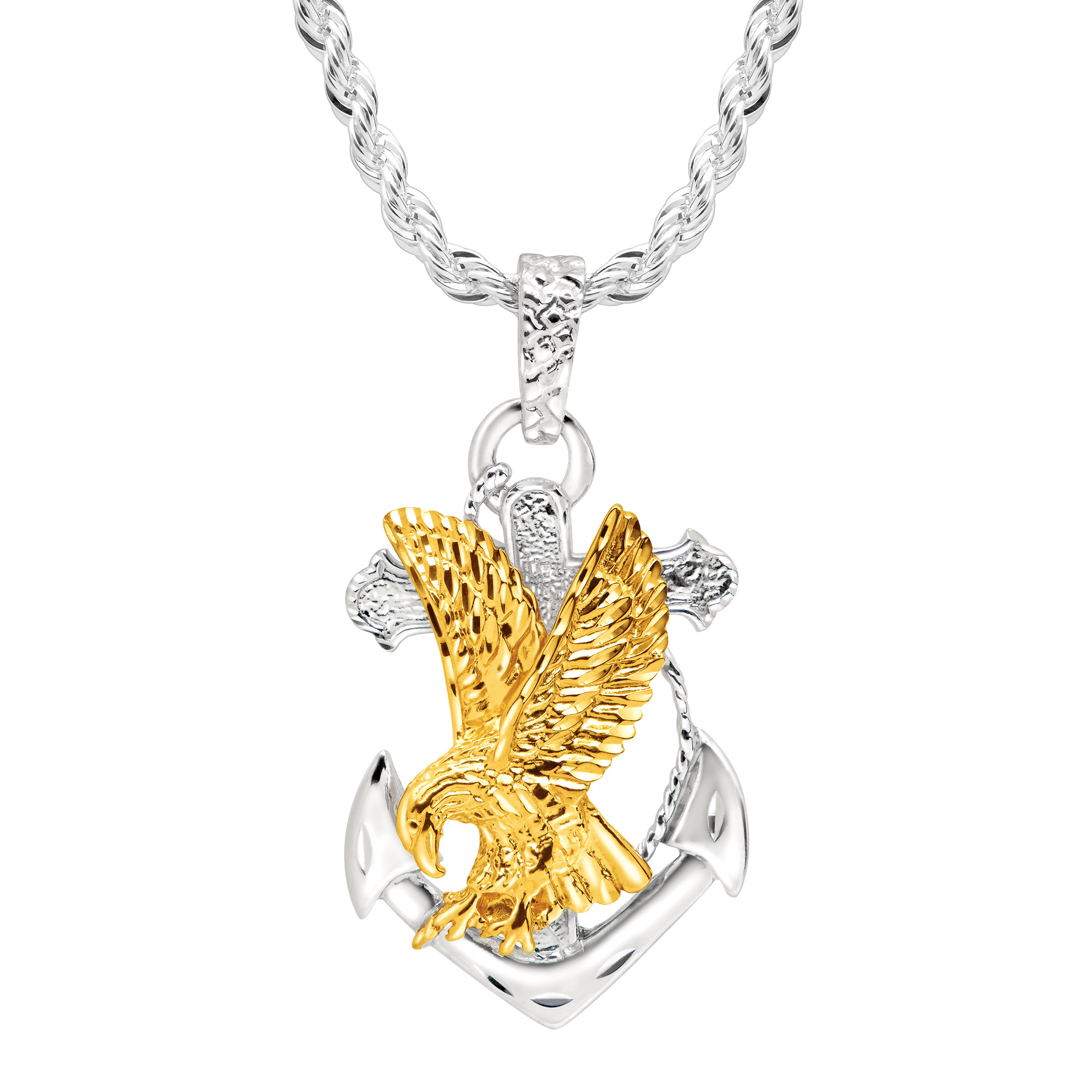 Richline Duet Men's Eagle on Anchor Pendant in 22K Gold o...