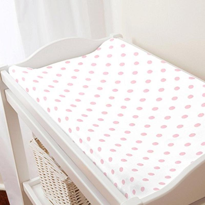 Carousel White and Pink Polka Dot Changing Pad Cover - Or...