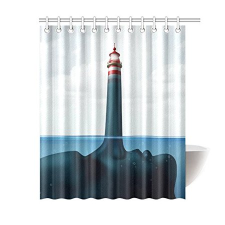 BPBOP Beacon Lighthouse Bathroom Waterproof Fabric Shower Curtain 66x72 Inches