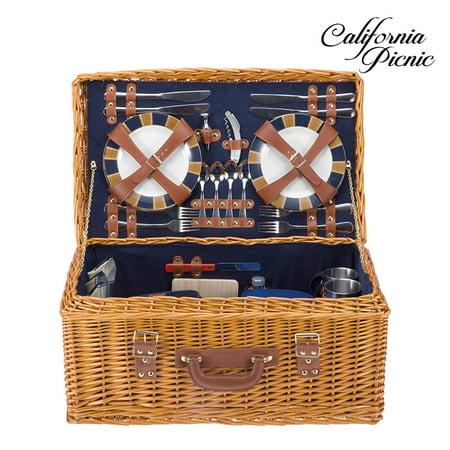 Picnic Basket Set DELUXE | Marshall Collection | 4 Person Coffee Service Set | Picnic Hamper Set Waterproof Picnic Blanket Ceramic Plates Metal Flatware Wine Glasses Bottle Opener | Vacuum -
