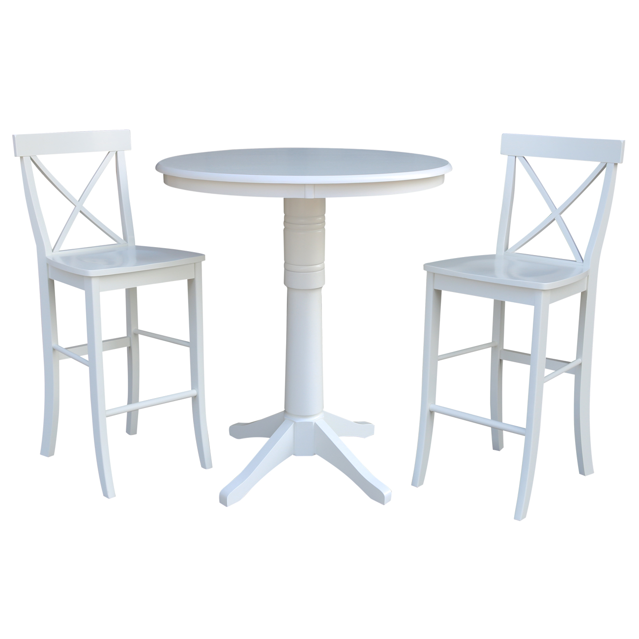 """36"""" Round Bar Height Table and 2 X-back Stools - White - 3 Piece Set"""