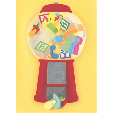 Avanti Press Pacifier Machine A*Press Foil & Embossed New Baby Congratulations Card