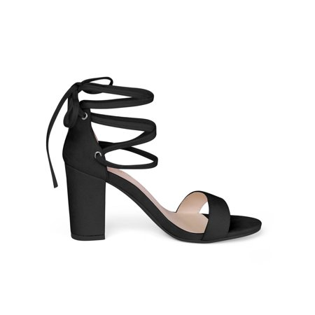Women Open Toe Chunky Heel Lace Up Dress Sandals Black US 6.5 - image 6 de 7