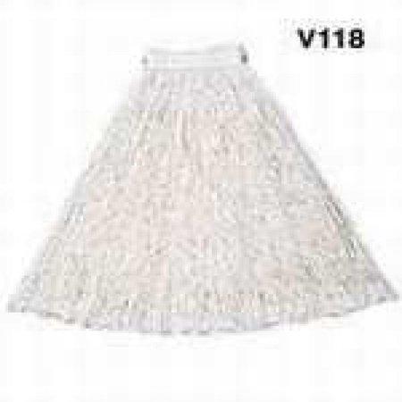 Rubbermaid V157 Economy Cotton Mop Heads Cut-End White 20 oz 5-In White Headband 12/Carton