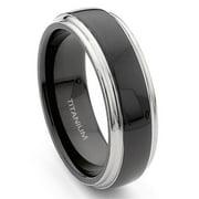 Titanium Kay 7mm Black and Grey Titanium Comfort Fit Mens Wedding Band Ring Sz 10.0