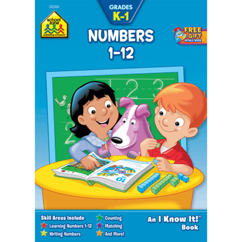SCHOOL ZONE - Numbers 1-12 K-1 Workbook - 32 Pages