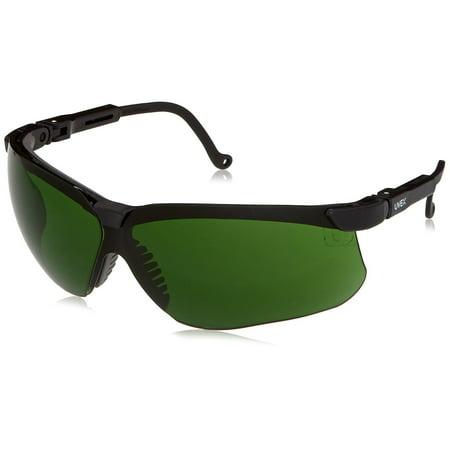 Uvex Shade (S3207 Genesis Safety Eyewear, Black Frame, Shade 3.0 Infra-Dura Ultra-Dura Hardcoat Lens, Three position rachet lens inclination adjusts to.., By Uvex )