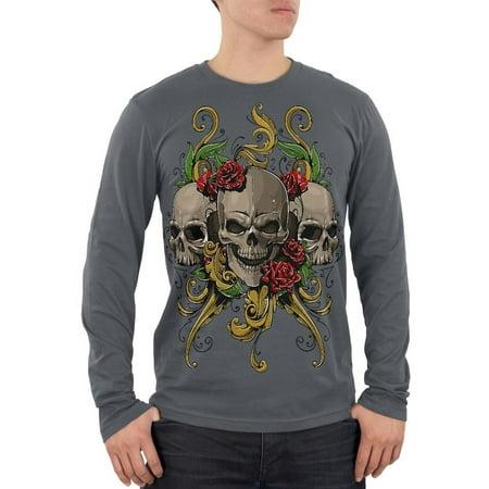 Skulls and Roses Tattoo Mens Soft Long Sleeve T Shirt - Skull And Roses Tattoo Sleeve