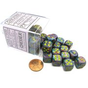 chessex festive 12mm d6 dice block (36 dice) -mosaic with yellow numbers #27850