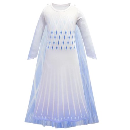 Kid's Girls Frozen 2 Snow Queen Elsa Cosplay Costume Birthday Party Fancy