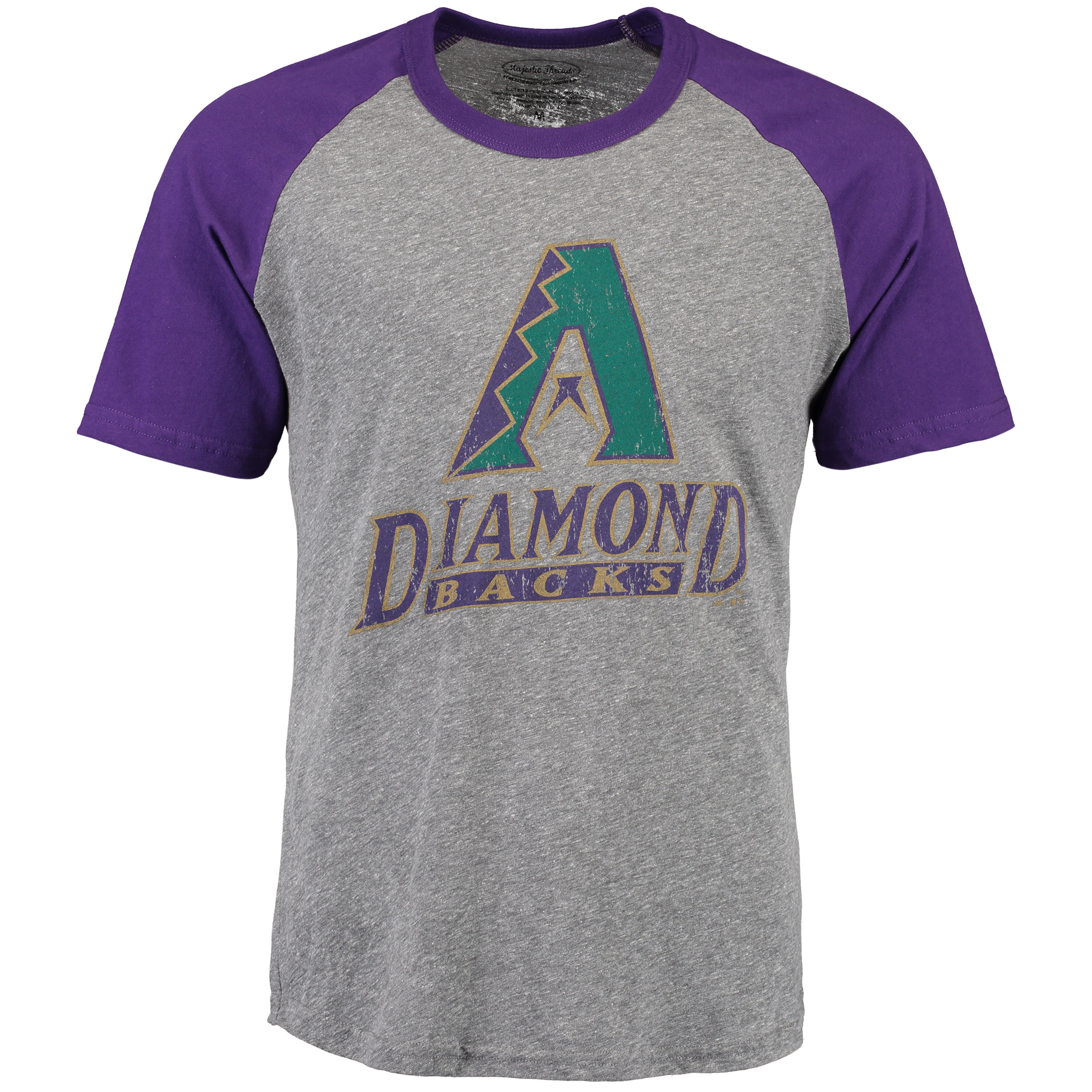 Arizona Diamondbacks Majestic Threads Cooperstown Collection Raglan Tri-Blend T-Shirt - Heathered Gray/Purple