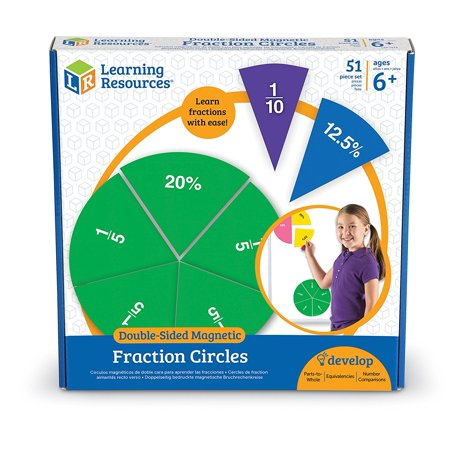Learning Resources LER1616 Double-Sided Magnetic Fraction Circles, Sticks to Whiteboard and Chalkboard (Math Chalkboard)
