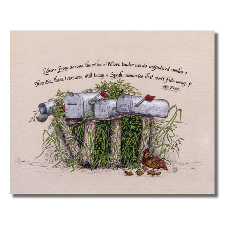 Letter Picture Art - Poem Letters from Days Gone By with Old Mailboxes Wall Picture 8x10 Art Print