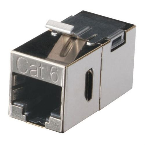 Black Box Network Services CAT6 Keystone Feed-Through Straight-Pinned Coupler - Metal FM693