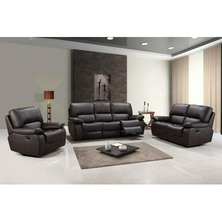 123 Quot Sleek Brown Leather Sofa Set Walmart Com