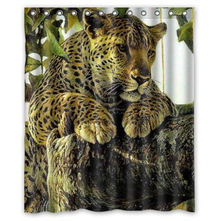 GreenDecor The Leopard On The Branch Rest Set Waterproof Shower Curtain Set with Hooks Bathroom Accessories Size 60x72 inches ()