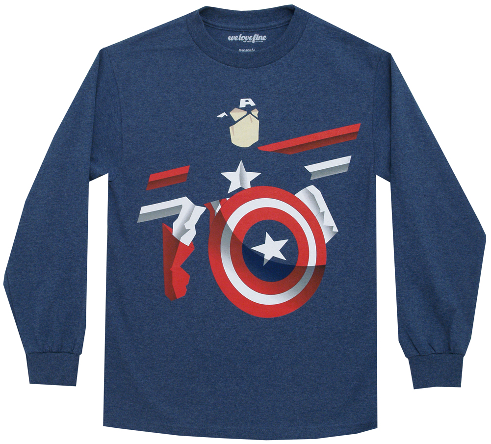 Captain America Knocked Out Marvel Comics Mighty Fine Adult Long Sleeve T-Shirt