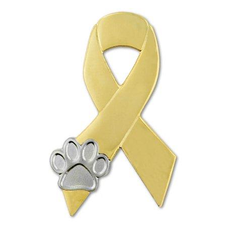 - PinMart's Gold and Silver Animal Cruelty Awareness Ribbon Paw Print Lapel Pin