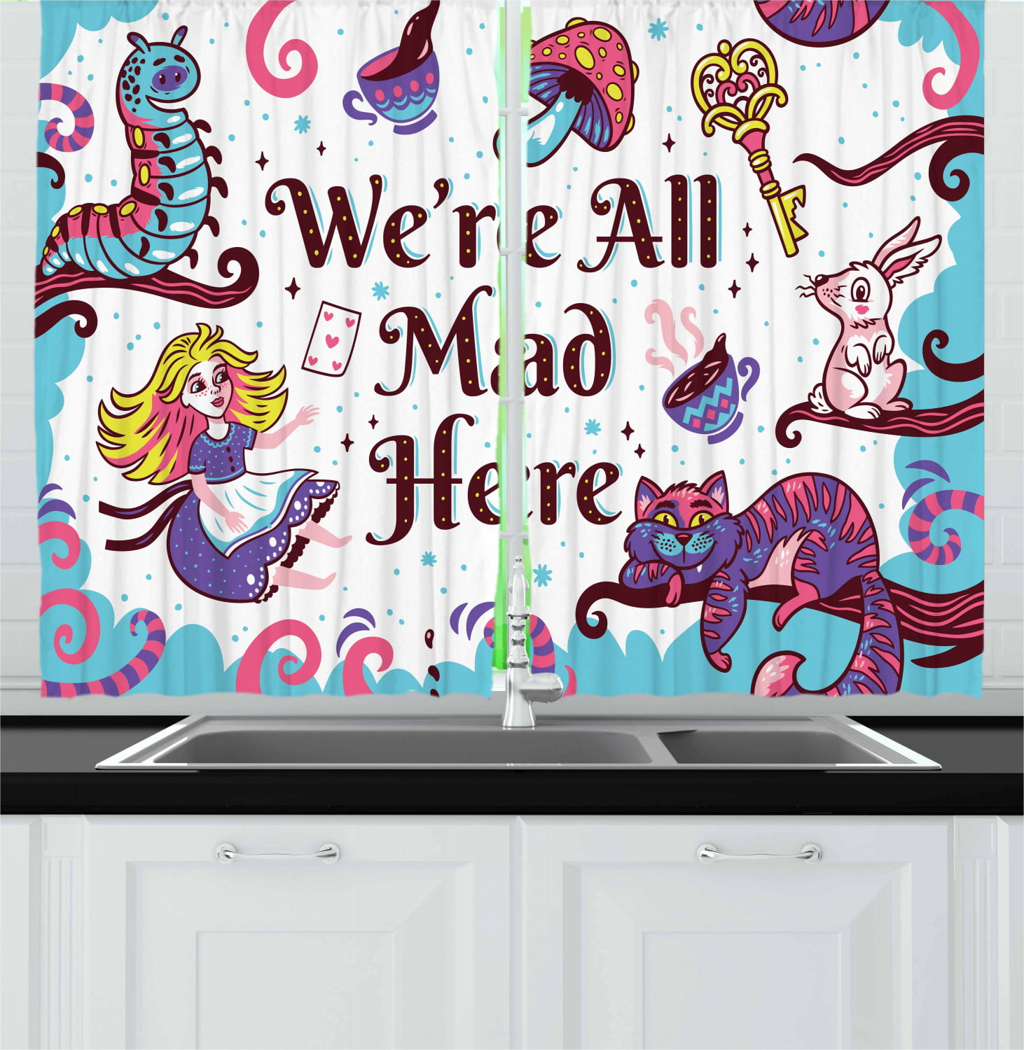 Alice In Wonderland Curtains 2 Panels Set We Are All Mad Here