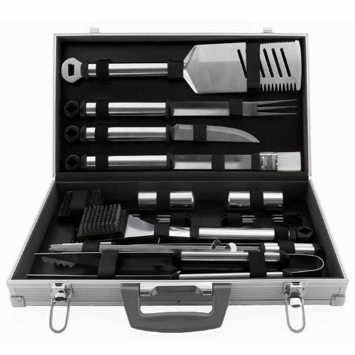 Mr. Bar .B.Q 21 Piece Stainless Steel Tool Set with Aluminum Case - 21 Piece(s) - Stainless Steel
