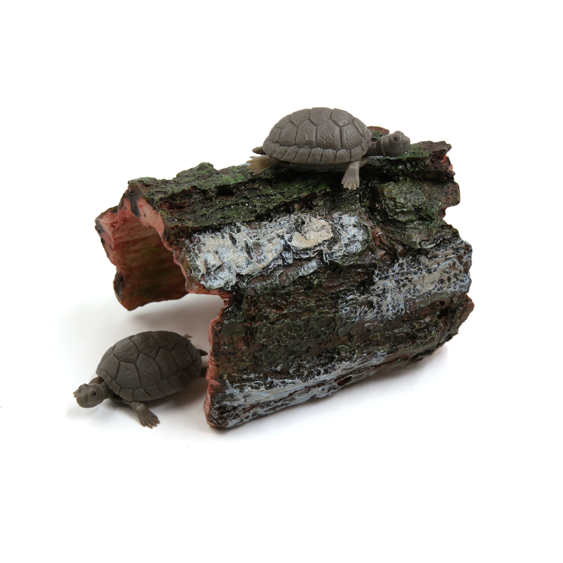 Green Gray Resin Tree Hole Reptiles Turtle Hut Shelter Decor for Terrarium
