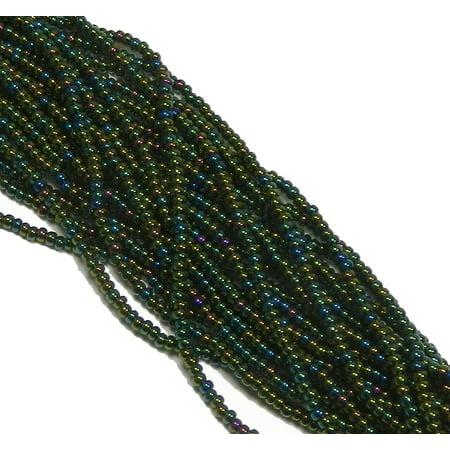 Iris Green Czech 11/0, Loose Seed Beads, on Loose Strung 1 6 String Hank