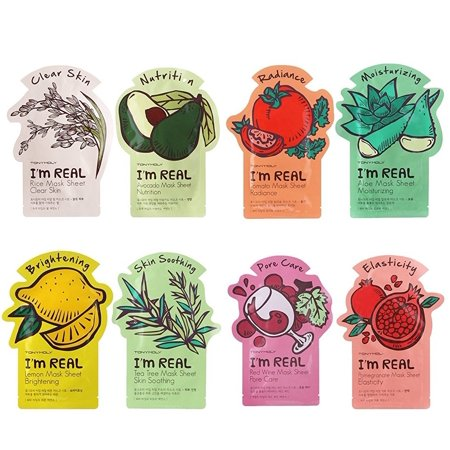 8 Pack TonyMoly I'm Real Sheet Mask Deep cleansing Beauty Face Mask Tony Moly Pore Cleaning
